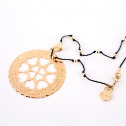 Medalla Ave María con cordón bolitas marrón