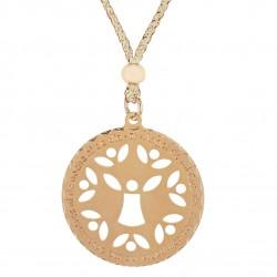 Medalla ¨Angel de la Guarda¨ dorado con cordón beige