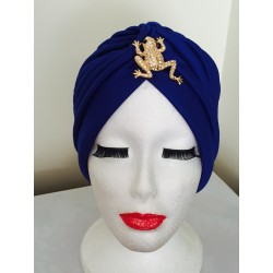 Turbante azulon con broche