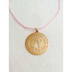 Medalla ¨Angel de la Guarda¨ dorado con cordón rosa