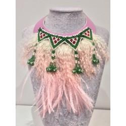 Collar plumas rosa palo